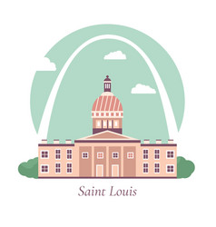 Poster with saint louiss famous landmarks vector