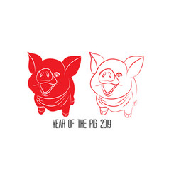 Red cut paper pig zodiac isolate on white vector