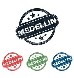 Round Medellin city stamp set vector