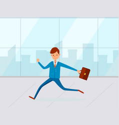 running employee indoor businessman late vector image