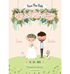 Rustic wedding couple invitation card floral vector image