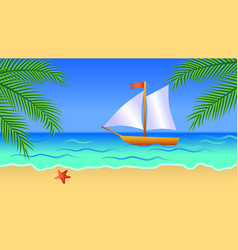 sea background with sea palm trees sand sky vector image