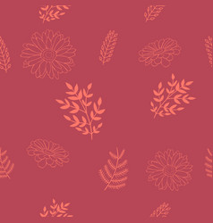 Seamless pattern with orange brunches and flowers vector