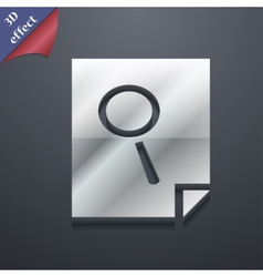 Search in file icon symbol 3D style Trendy modern vector image