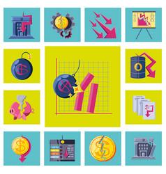 Set icons collapsed economy vector
