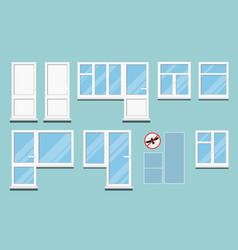 Set isolated white plastic pvc room windows vector