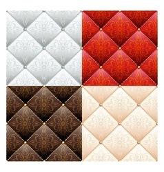 Set of 4 satin quilted seamless texture vector