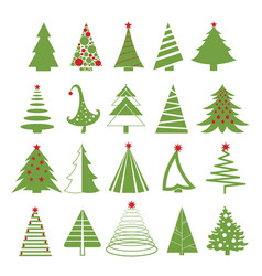 set of christmas trees in red vector image