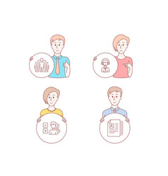Shipping support group and opinion icons cv vector