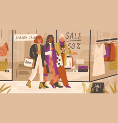 shopaholic women friends walking near store vector image