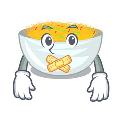 silent fried noodles in mascot shape vector image