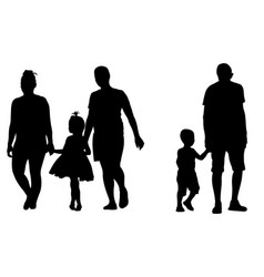 silhouettes of parents holding kids hands vector image