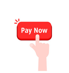 Simple hand with red pay now button vector
