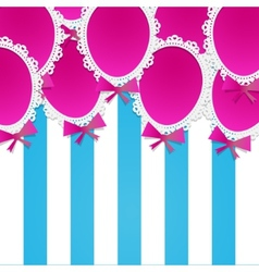 Simple Paper Balloons with Lace and Bows on a vector image