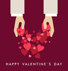 St Valentines day greeting card in flat style Hand vector