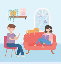 Stay at home boy girl and cat with book on sofa vector