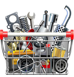 Supermarket cart with car parts rear view vector