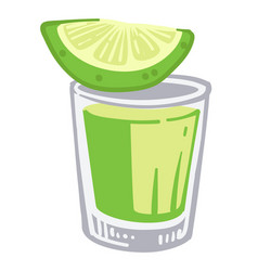 Tequila shot with lime alcoholic beverage in vector