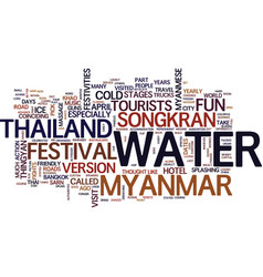 Thailand and myanmar water fight text background vector