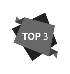Top3 text in label black color vector