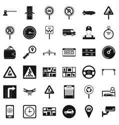traffic in city icons set simple style vector image