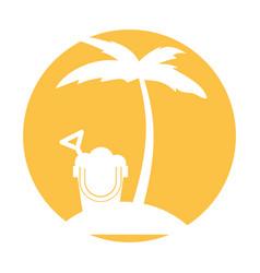 tree palm beach with sand bucket vector image