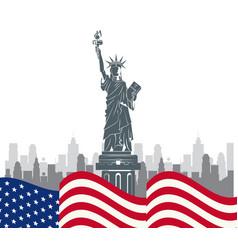 Usa liberty statue ny city vector