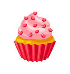 valentines day muffin with hearts vector image
