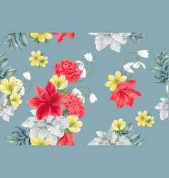 Winter bloom pattern design with peony lilies vector
