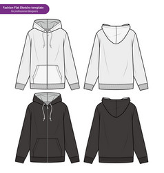 Zip-up hoody fashion flat technical drawing vector
