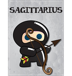 Zodiac sign Sagittarius with cute black ninja vector image