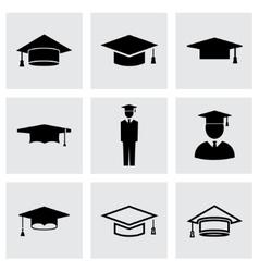 black academic cap icon set vector image