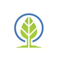 Green leaf botany logo vector