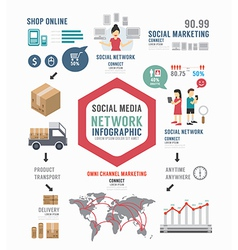 Infographic Social Business template design vector image vector image