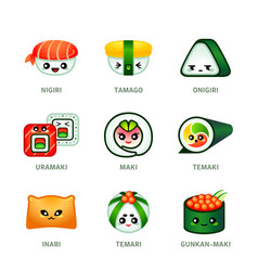 kawaii sushi bar icons vector image vector image