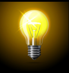 realistic glowing light bulb on dark background vector image vector image