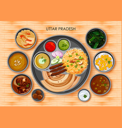 traditional cuisine and food meal thali of uttar vector image vector image