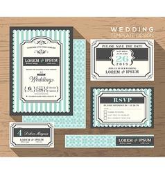 Wedding card invitation set design template vector