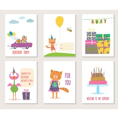 Set of birthday greeting cards design with cartoon vector image