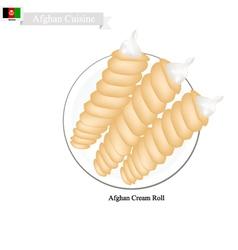 Afghan Cream Roll Popular Dessert in Afghanistan vector image vector image