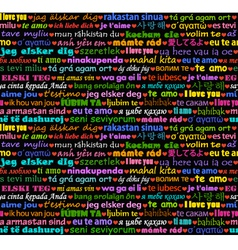 I love you in all languages seamless background vector image