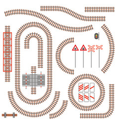 Set of railway parts and road signs vector