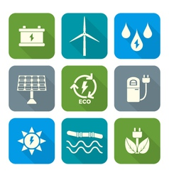 white color flat style recycle ecology energy vector image