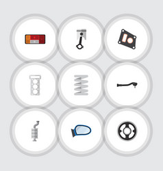 flat icon component set of packing conrod gasket vector image vector image
