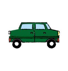 green car sedan cartoon vehicle transport vector image