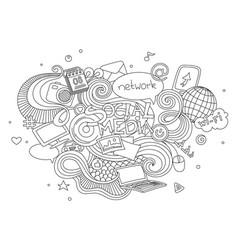 hand drawn cartoon doodle set vector image