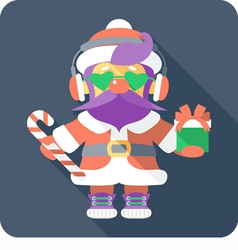hipster Santa Claus standing with gifts vector image vector image