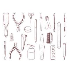 manicure equipment set hand drawn contour vector image