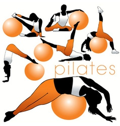 Pilates silhouettes vector