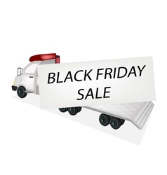 Tractor Trailer Flatbed Loading Black Friday Card vector image